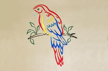 Red Macaw Embroidery